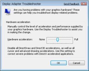 Hardware acceleration setting in VISTA