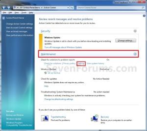 Windows 7 Error Reporting